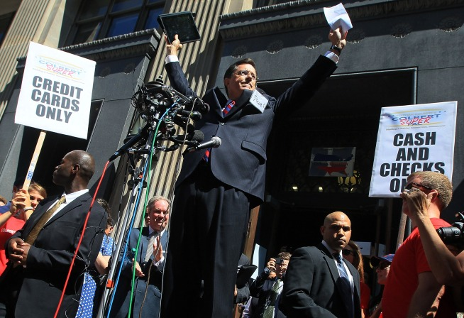 Stephen Colbert declares victory outside of the FEC.
