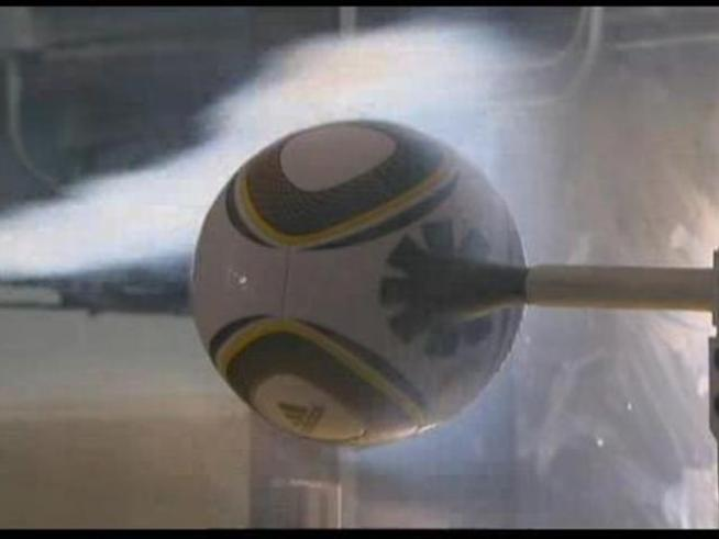 Watch the complex smokey wake left by the official ball of the <a title=
