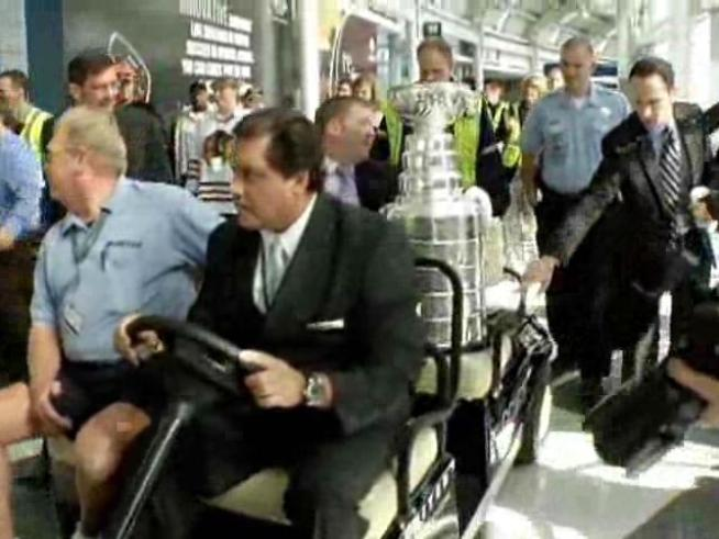 The Stanley Cup arrived back in Chicago from Montreal Tuesday morning after being engraved with the names of the players, coaches and front office personnel of the 2010 Blackhawks.