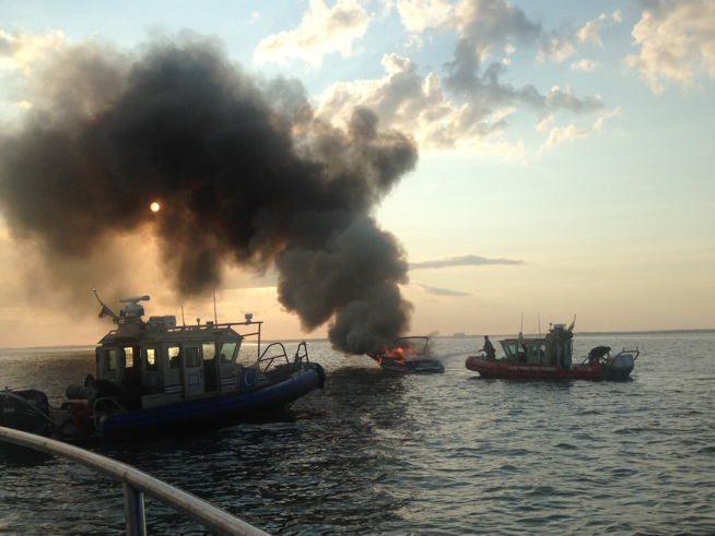 3 Rescued from Burning Boat