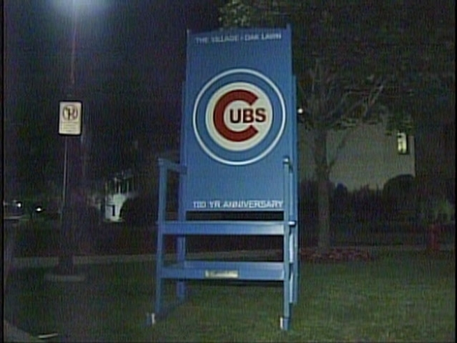 A 10-foot-tall Cubs-themed rocking chair that was on public display in the Village of Oak Lawn was destroyed last week.