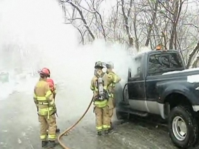 Snow Plow Catches Fire