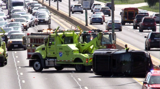3 Injured in Bishop Ford Rollover Crash