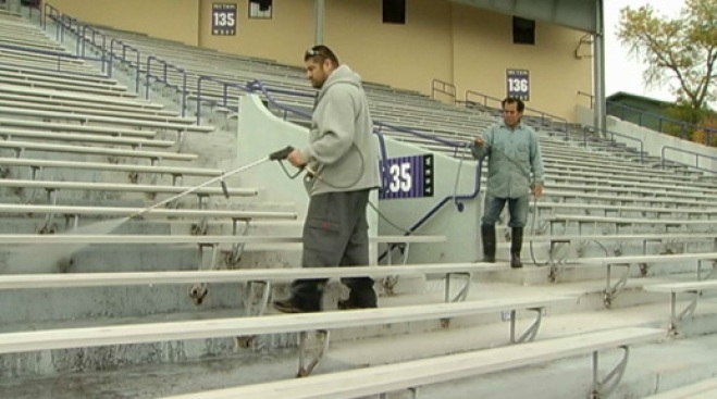 Northwestern Power Washes Stadium for Peanut Debris