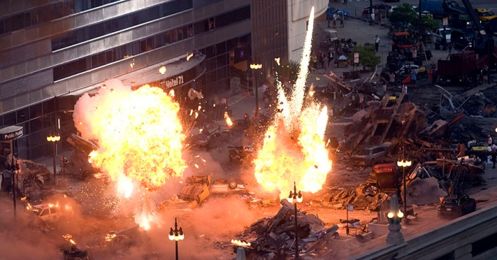 Director Michael Bay says the city has been gracious with requests to blow up Michigan Avenue and base-jump over the <a title=