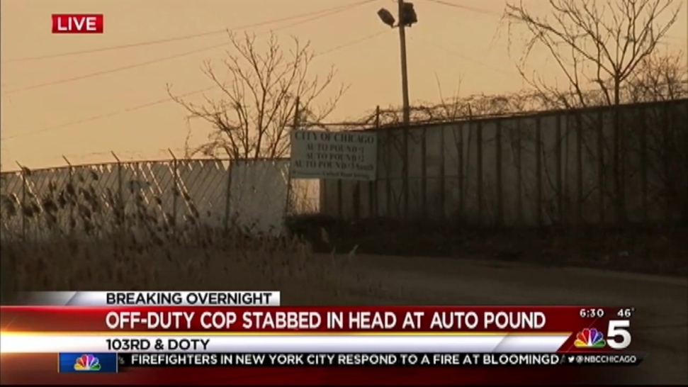off duty officer stabbed in head at city auto pound nbc chicago. Black Bedroom Furniture Sets. Home Design Ideas